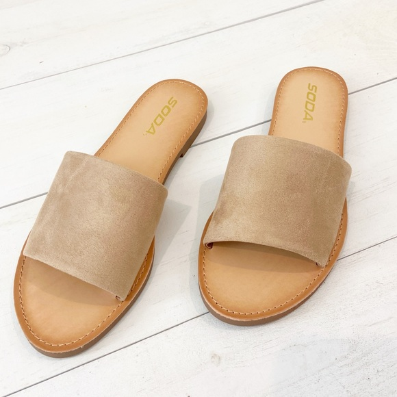 Soda Faux Suede Wide Strap Sandal Natural Size 7